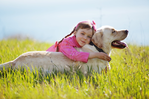 Happy child playing with dog